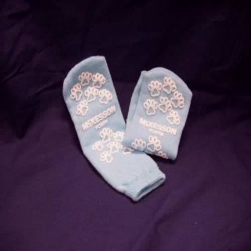 SLIPPER SOCK, TERRY PERM LT BLUE YOUTH