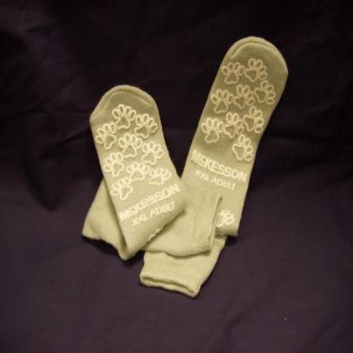 SLIPPER SOCK, TERRY PERM GRAY 2XLG