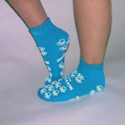 SLIPPER SOCK, TERRY PERM TEAL LG
