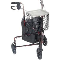 DRIVE 3-WHEEL WALKER W/BASKET, RED